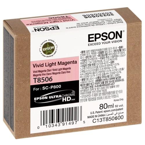 EPSON - Cartouche d'encre traceur SC-P800 - Magenta clair Vivid - 80ml - T8506