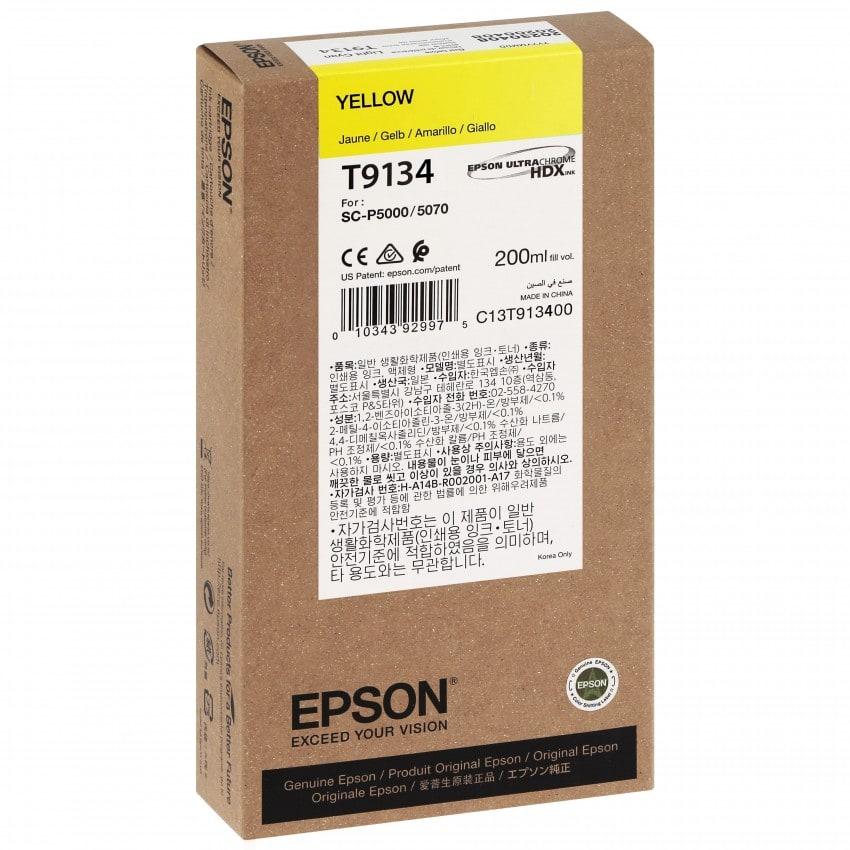 Cartouche d'encre traceur EPSON SC-P5000 - Jaune - 200ml - T9134