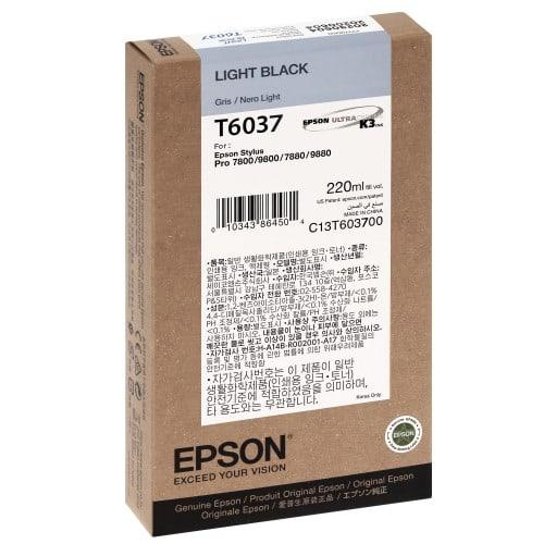 Cartouche d'encre traceur EPSON T6037 Pour imprimante 7800/7880/9800/9880 Gris - 220ml