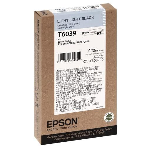 Cartouche d'encre traceur EPSON T6039 Pour imprimante 7800/7880/9800/9880 Gris clair - 220ml