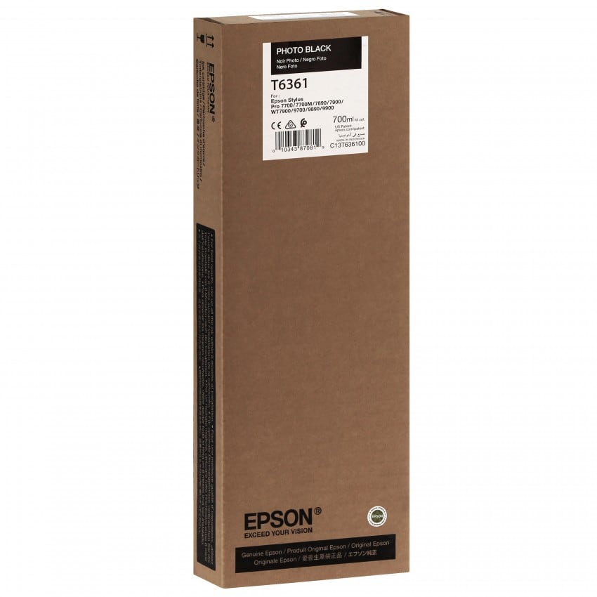 Cartouche d'encre traceur EPSON T6361 Pour imprimante 7700/9700/7890/9890/7900/9900 Noir Photo - 700ml