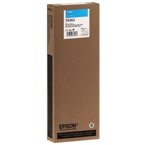 Cartouche d'encre traceur EPSON T6362 Pour imprimante 7700/9700/7890/9890/7900/9900 Cyan - 700ml