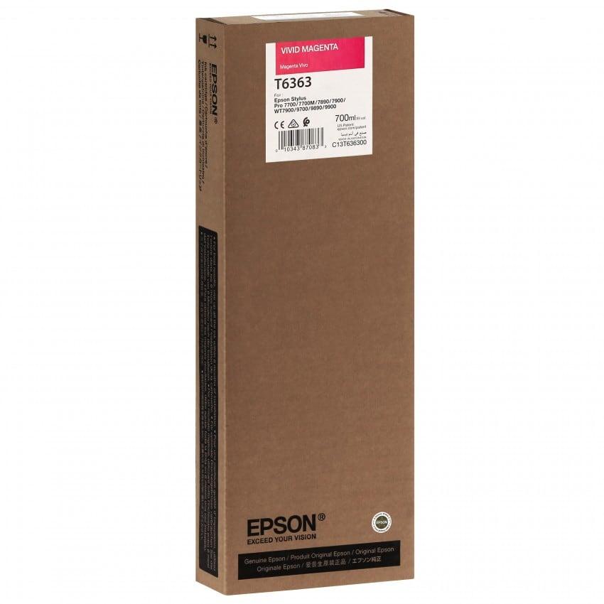 Cartouche d'encre traceur EPSON T6363 Pour imprimante 7700/9700/7890/9890/7900/9900 Vivid Magenta - 700ml