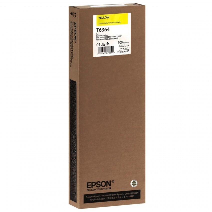 Cartouche d'encre traceur EPSON T6364 Pour imprimante 7700/9700/7890/9890/7900/9900 Jaune - 700ml