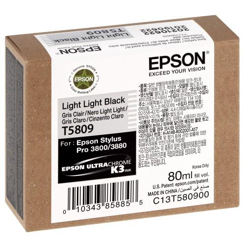 Cartouche d'encre traceur EPSON T5809 Pour imprimante 3800/3880 Gris clair - 80ml