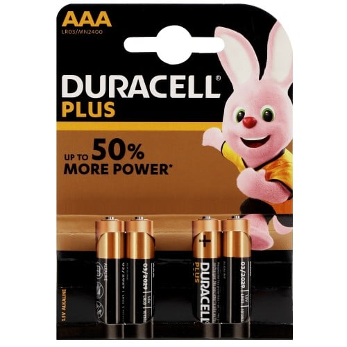 Pile alcaline LR03 AAA AM4 1,5V DURACELL Plus Power Duralock Blister de 4 piles