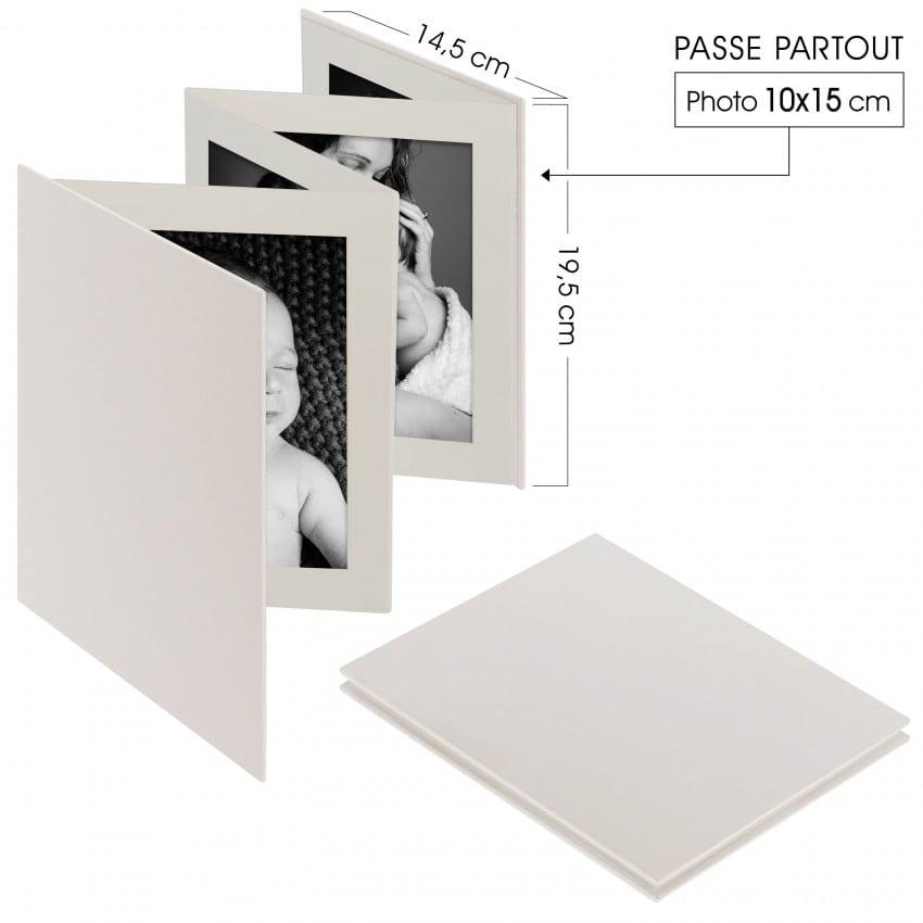 "Album photo DEKNUDT Accordéon ""Leporello"" 8 photos 10x15cm  Cuir blanc"