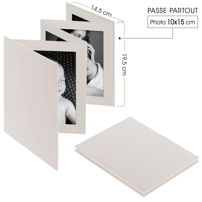 DEKNUDT - Mini album accordéon LEPORELLO - 8 pages blanches - 8 photos 10x15cm - Couverture Blanche 14,5x19,5cm