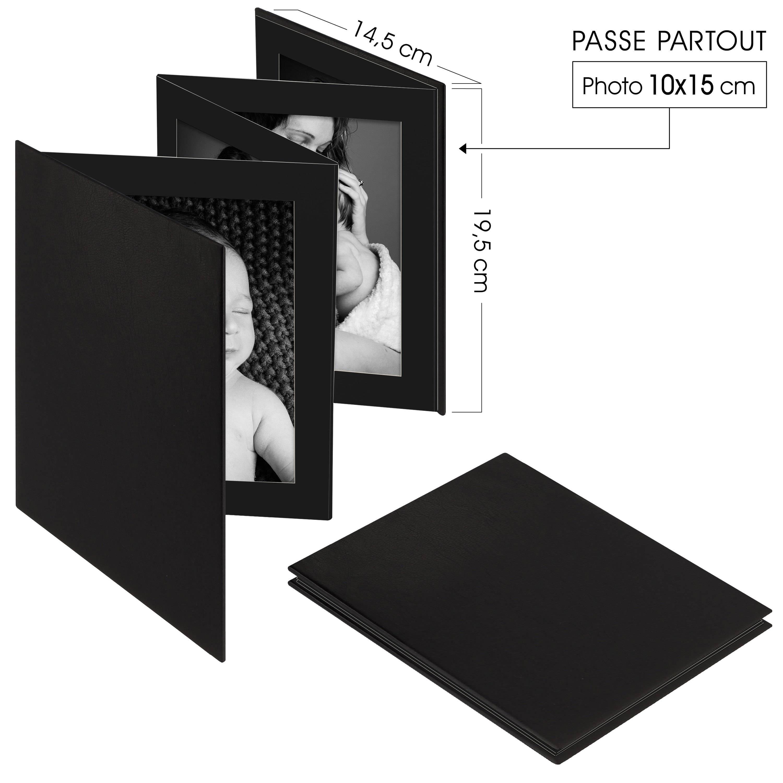 DEKNUDT - Mini album accordéon LEPORELLO - 8 pages noires - 8 photos 10x15cm - Couverture Noire 14,5x19,5cm