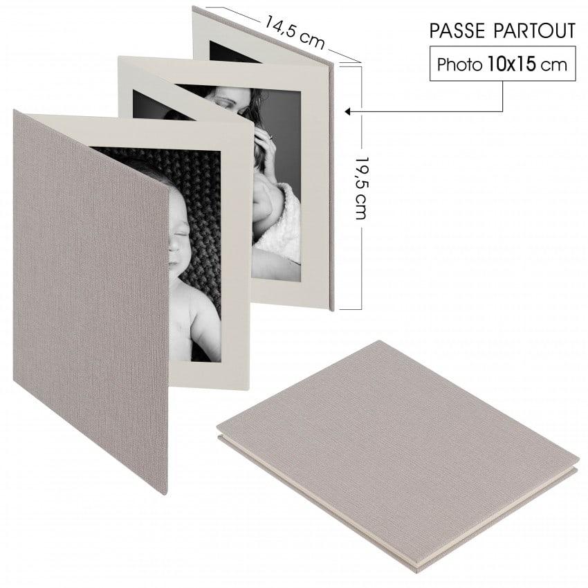 Deknudt album accordéon tissu gris 8 photos 10x15cm (l''unité)  *
