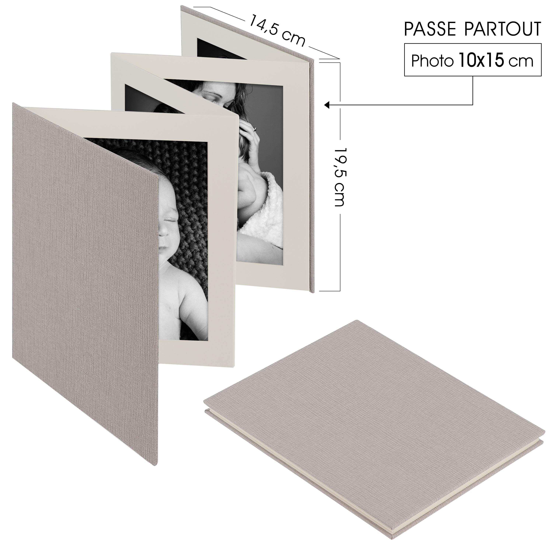 DEKNUDT - Mini album accordéon LEPORELLO - 8 pages blanches - 8 photos 10x15cm - Couverture Grise 14,5x19,5cm