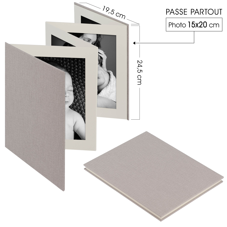 DEKNUDT - Mini album accordéon LEPORELLO - 8 pages blanches - 8 photos 15x20cm- Couverture Grise 19,5x24,5cm