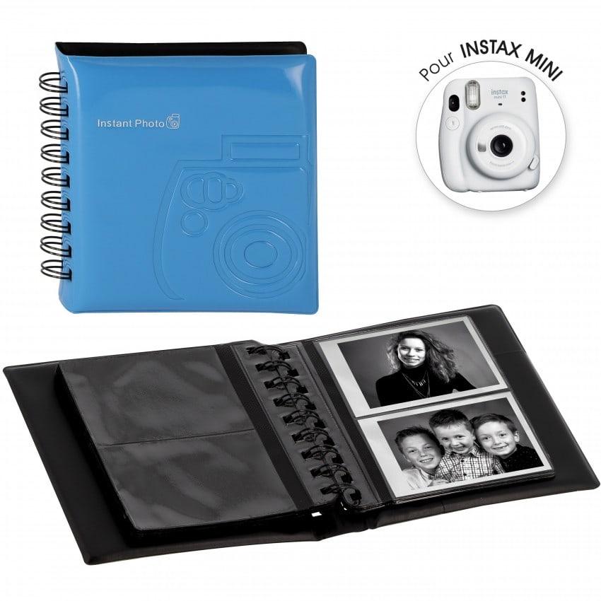 Mini album photo FUJI Spirale Bleu à pochettes 64 vues / 2 vues par page - Pour Instax Mini