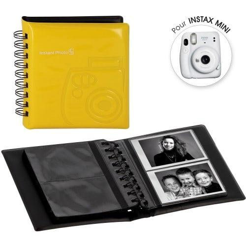 FUJI - Album photo instantanée pochettes sans mémo pour Instax Mini - 32 pages - 64 photos - Couverture Jaune 12x13,5cm