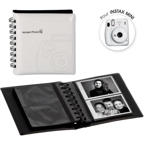 FUJI - Album photo instantanée pochettes sans mémo pour Instax Mini - 32 pages - 64 photos - Couverture Blanche 12x13,5cm