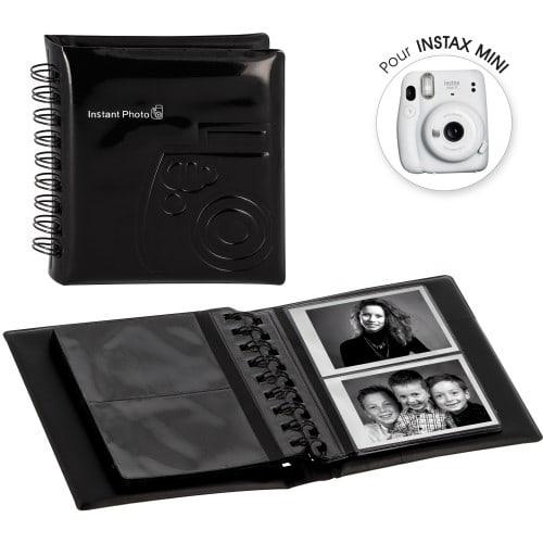 FUJI - Album photo instantanée pochettes sans mémo pour Instax Mini - 32 pages - 64 photos - Couverture Noire 12x13,5cm