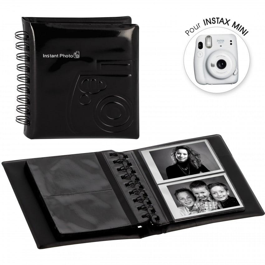 Mini album photo FUJI Spirale Noir à pochettes 64 vues / 2 vues par page - Pour Instax Mini