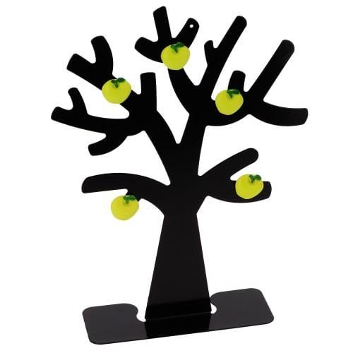 DEKNUDT - Porte-photo magnétique forme Arbre - livré avec 5 aimants pomme - Métal - Hauteur 29 cm