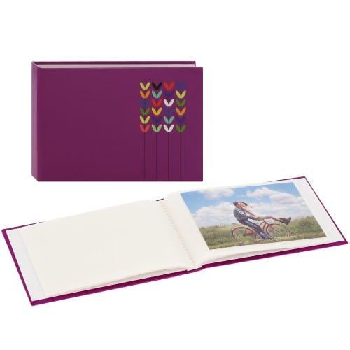 pochettes sans mémo Blossom - 24 pages blanches - 24 photos - Couverture Lilas 17,5x12cm