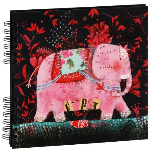 """traditionnel série ARTISTES Illustration IZOU - 40 pages noires - 80 photos - Couverture """"Eléphant"""" 26x23cm"""