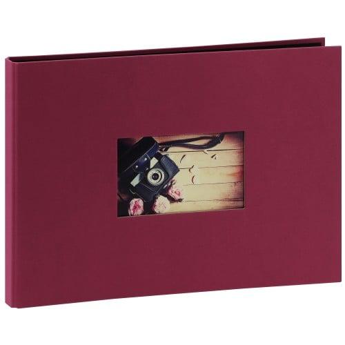 PANODIA - Album photo traditionnel STUDIO - 40 pages noires - 120 photos - Couverture Framboise 34x24cm + fenêtre