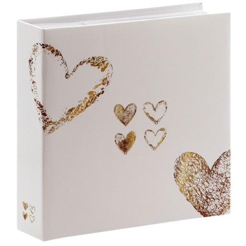 HAMA - Album photo pochettes avec mémo Lazise - 100 pages blanches - 200 photos - Couverture Blanche dorée 22,5x22cm