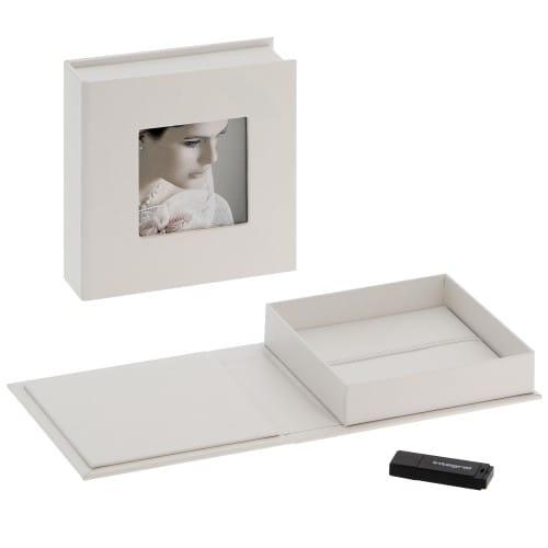 Deknudt boite de rangement USB & photos blanc en simili cuir(l''unité)