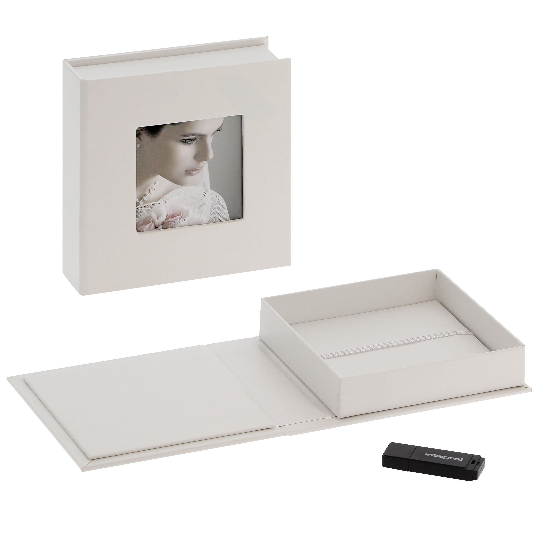 DEKNUDT - Boîte de rangement pour clé USB & photos en simili cuir blanc (clé USB vendue séparément)