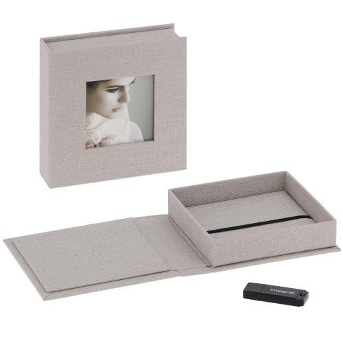 Deknudt boite de rangement USB & photos gris en tissu (l''unité)