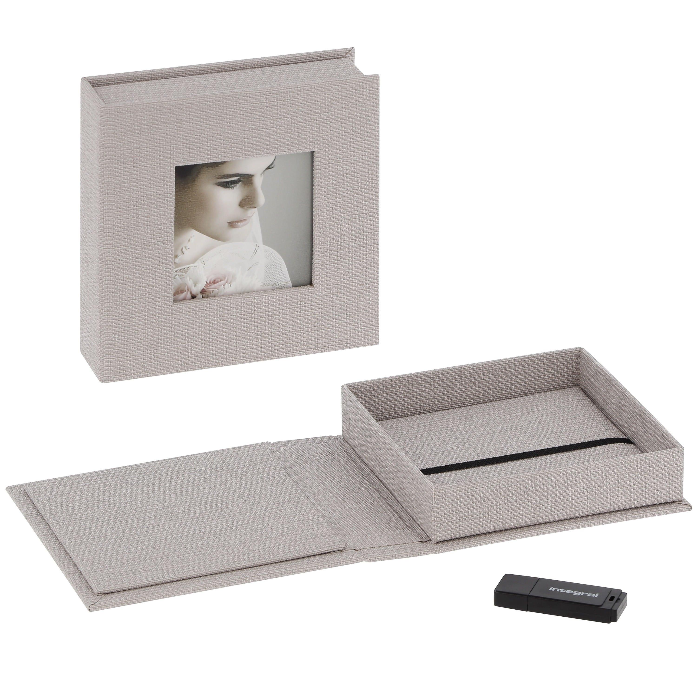 DEKNUDT - Boîte de rangement pour clé USB & photos en tissu gris (clé USB vendue séparément)