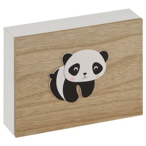 DEKNUDT - Coffret bois blanc et naturel avec dessin panda - à l'unité