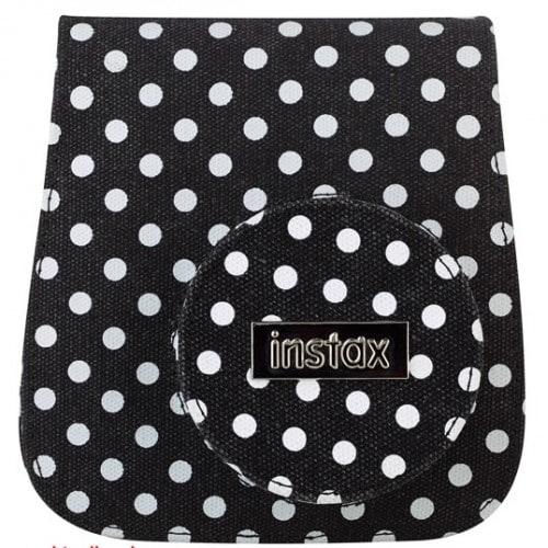 Etui appareil photo FUJI Instax mini Toile noire à pois blancs - Pour Instax Mini 8 et Mini 9
