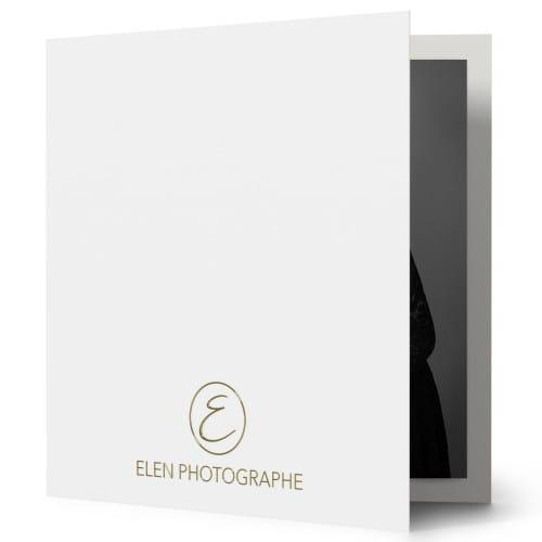 Chemise papier 350g satiné - Impression extérieure et intérieure noire et dorure Or - avec encoches