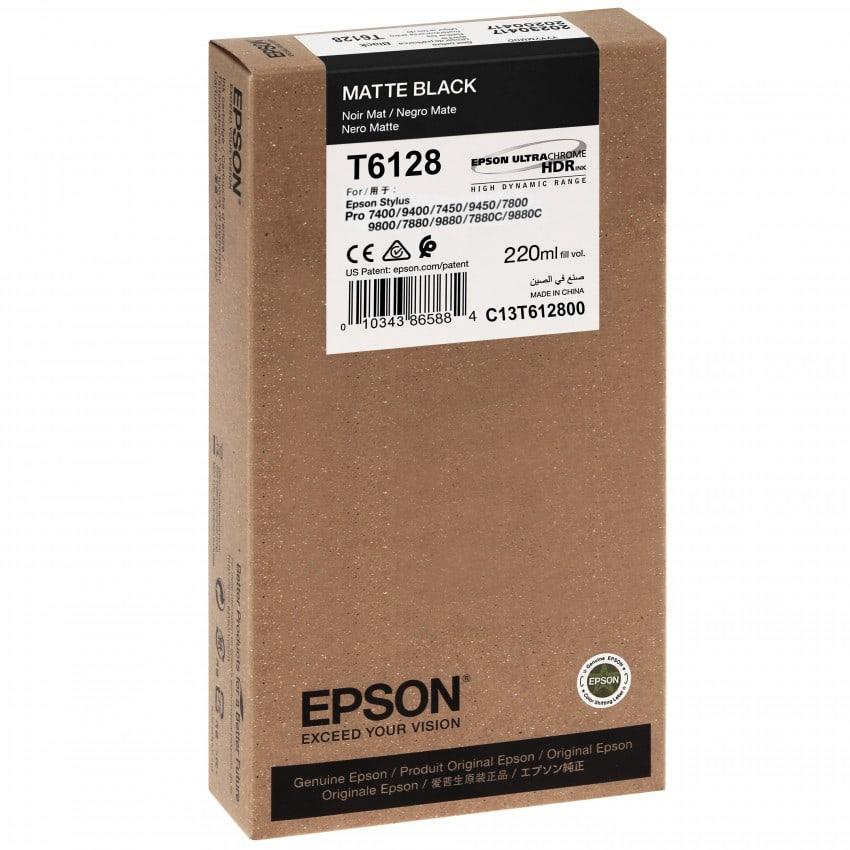 Cartouche d'encre traceur EPSON T6128 Pour imprimante 7880/9880 Noir mat - 220ml