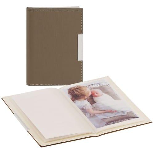 DEKNUDT - Mini album pochettes sans mémo - 24 pages blanches - 24 photos - Couverture Taupe 12,5x17,5cm