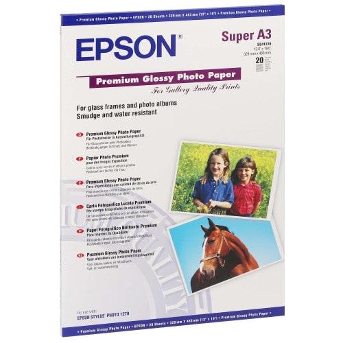 Papier jet d'encre EPSON EPSON PHOTO PREMIUM papier glacé 255g - A3+ - 20 feuilles