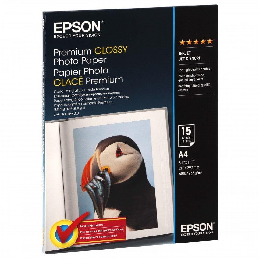 Papier jet d'encre EPSON EPSON PHOTO PREMIUM papier glacé 255g - A4 - 15 feuilles