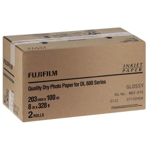 Papier jet d'encre FUJI Papier brillant DL220 pour DL600 / DL650 - 203mm x 100m - 2 rouleaux