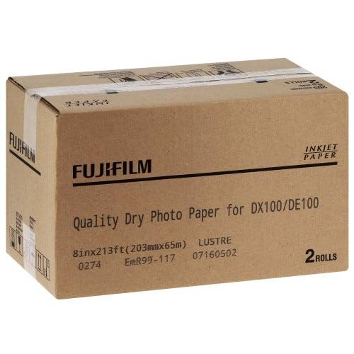 Papier jet d'encre FUJI Papier lustré 230g pour DX100 - 203mm x 65m - 2 rouleaux