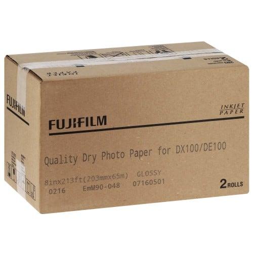 Papier jet d'encre FUJI Papier brillant 230g pour DX100 - 203mm x 65m - 2 rouleaux