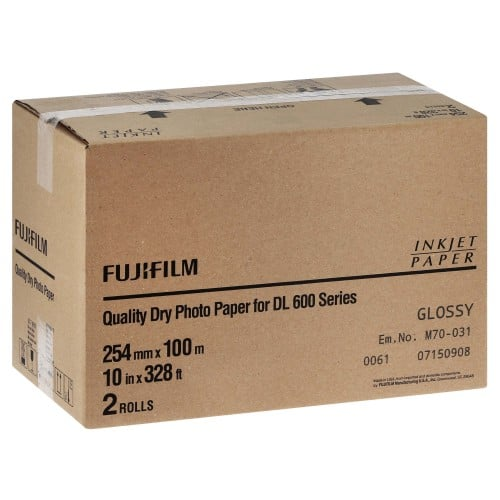 Papier jet d'encre FUJI Papier brillant DL220 pour DL600 / DL650 - 254mm x 100m - 2 rouleaux