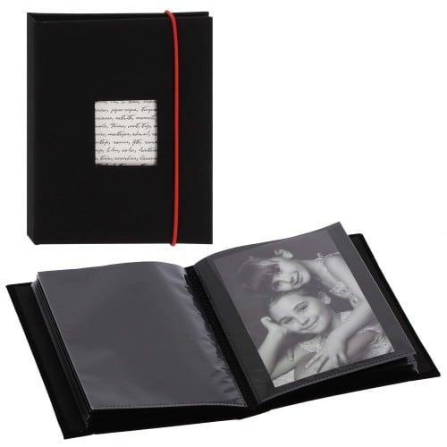PANODIA - Mini album pochettes sans mémo LINEA - 36 pages noires - 36 photos - Couverture Noire 13,5x16,5cm + fenêtre