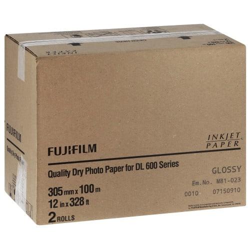 Papier jet d'encre FUJI Papier brillant DL220 pour DL600 / DL650 - 305mm x 100m - 2 rouleaux