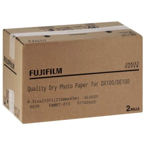 Papier jet d'encre FUJI Papier brillant 230g pour DX100 - 210mm x 65m - 2 rouleaux