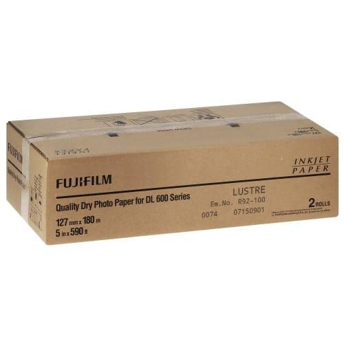 Papier jet d'encre FUJI Papier lustré DL220 pour DL600 / DL650 127mm x 180m - 2 rouleaux