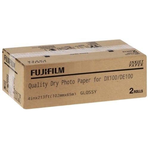Papier jet d'encre FUJI Papier brillant 230g pour DX100 - 102mm x 65m - 2 rouleaux