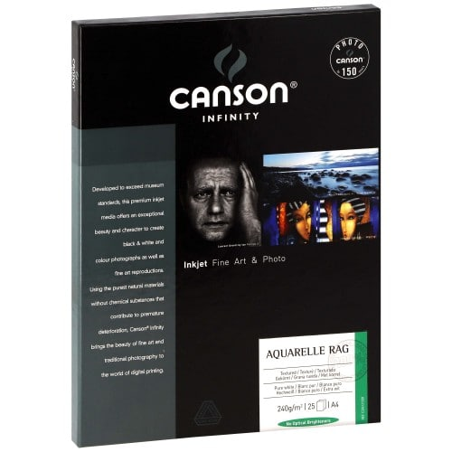 Papier jet d'encre CANSON CANSON Infinity Arches Aquarelle Rag blanc pur mat 240g - A4 - 25 feuilles