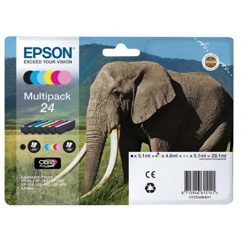 Epson cartouche Elephant 24 pack 6 couleurs pour XP970 (C13T24284011)