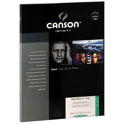 CANSON Infinity Arches Aquarelle Rag blanc pur mat 240g - A3+ - 25 feuilles