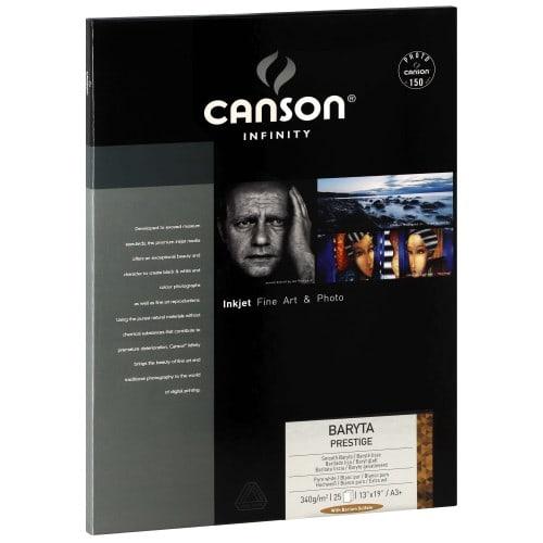 Papier jet d'encre CANSON CANSON Infinity Baryta Prestige brillant blanc 340g - A3+ - 25 feuilles